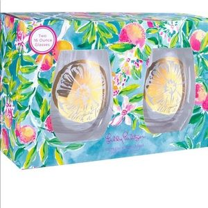 Lilly Pulitzer stemless wine glasses
